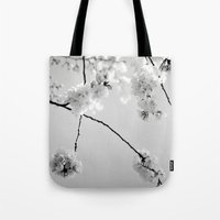 Cherry Blossoms in Black and White Tote Bag