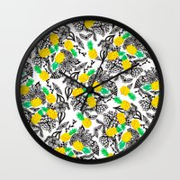 Tropical watercolor pineapples floral pattern illustration Wall Clock