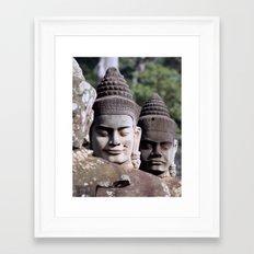 Angkor Temple Entrance Statue Heads Framed Art Print