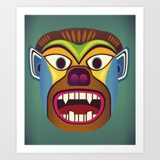 Gorilla ethnic mask Art Print