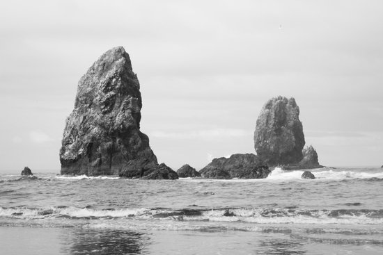 Sea Stacks (Cannon Beach, Oregon) - Black & White Canvas Print