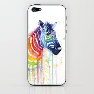 Zebra Rainbow Watercolor iPhone & iPod Skin