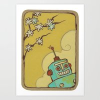 robot Art Prints featuring Robot by Willow Dawson