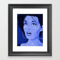 Fright - Blue Framed Art Print