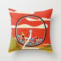 Road Cycling Race Hamster Wheel Challenge Throw Pillow
