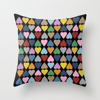 Diamond Hearts On Black Throw Pillow