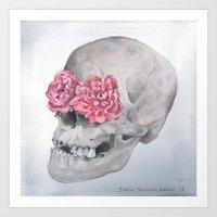 Floral Anatomy Skull Art Print