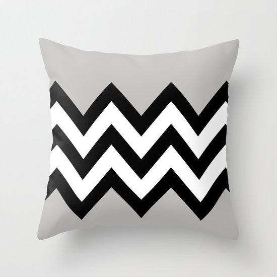 GRAY COLORBLOCK CHEVRON Throw Pillow