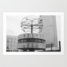 World clock Black and White Art Print