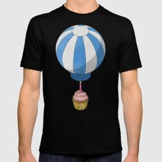 Flying Cupcake SMALL Black Mens Fitted Tee