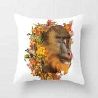 Baboon Rainbows Throw Pillow
