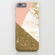 Gold marble collage iPhone 6 Slim Case