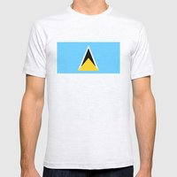 Saint Lucia Country Flag Mens Fitted Tee Ash Grey SMALL