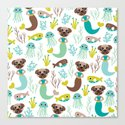 Quirky pugs and mermaids under water world Canvas Print