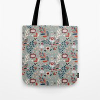Deep Indigos & Gray Garden Hearts Tote Bag
