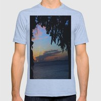 SUNSET BETWEEN TREES. Mens Fitted Tee Athletic Blue SMALL