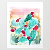 Mojave Cactus Desert Sunset Art Print
