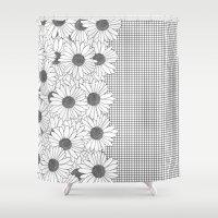 Daisy Grid On Side Shower Curtain