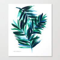 Palm Leaves - Teal Ombre Canvas Print