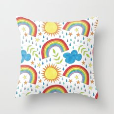 rainbow sunshine and cloud pattern Throw Pillow