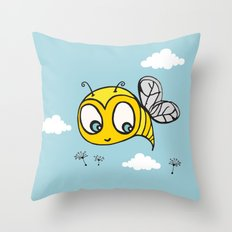 Happy Bumblebee Throw Pillow