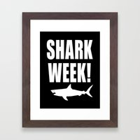 Shark week (on black) Framed Art Print