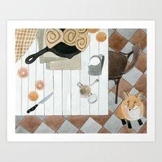 Breakfast and Fox Art Print