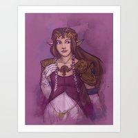 zelda Art Prints featuring Zelda by Karen Hallion Illustrations
