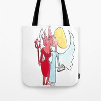 Angel/devil lesbian kiss Tote Bag