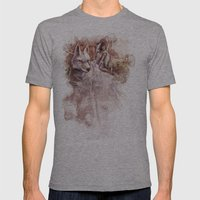 Miyazaki's Mononoke Hime - San and the Wolf TraDigital Painting Mens Fitted Tee Athletic Grey SMALL