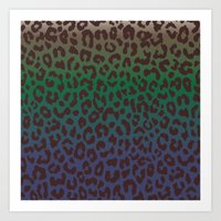 LEOPARD Hue-TAUPE GREEN … Art Print