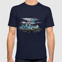Team Zissou Crossing the Delaware Mens Fitted Tee Navy SMALL