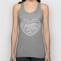 Adventure is where your heart is BW Unisex Tank Top