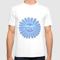 Happy Fish White SMALL Mens Fitted Tee