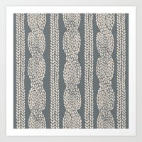 Cable Knit Grey Art Print