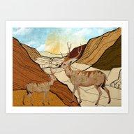 Desert Deers Art Print