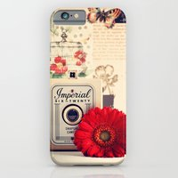 iPhone & iPod Case featuring Retro Camera and Red Flower (Retro and Vintage Still Life Photography) by AC Photography