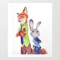 NickJudy Ballpoint Pen Drawing Art Print