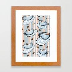 Cups Medley Blue Stripes Framed Art Print