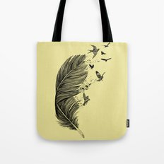 Feather Birds BW Tote Bag