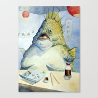 Fish Walks Into A Sushi … Canvas Print