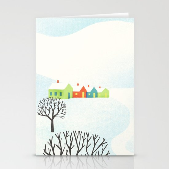 Snowy Little Town Stationery Card