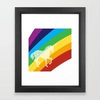 Unicorn on rainbow art Framed Art Print