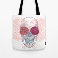 Double Flowers Skull Tote Bag