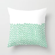 Half Knit Mint Throw Pillow