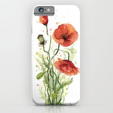 Red Poppies Watercolor Flower Floral Art Slim Case iPhone 6s