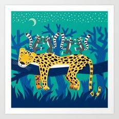 The Leopard and The Lemurs Art Print
