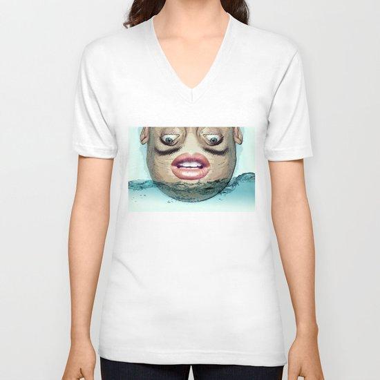 Head above V-neck T-shirt