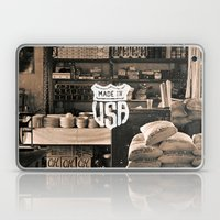 Brown White Made In USA Vintage Photography Print Laptop & iPad Skin