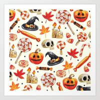 halloween Art Prints featuring halloween by Ceren Aksu Dikenci